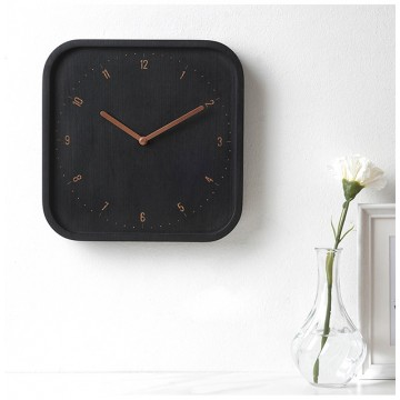Allday - Square: Wall Clock (Black Woodstained Beech)