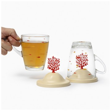 Bleaching Coral Glass Mug and Lid/Holder (Coral Red)
