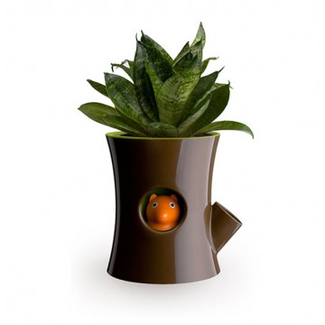Log & Squirrel Self-Watering Plant Pot