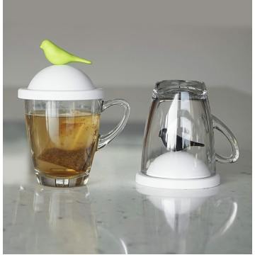 Sparrow Glass Mug and Lid/Holder