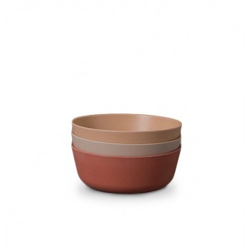 Kids Bamboo Bowl 3-pack: Fog/Rye/Brick