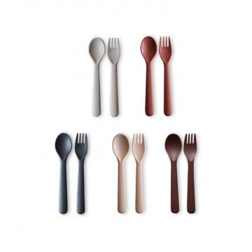 Kids Bamboo Cutlery Set: Fog/Rye/Brick/Ocean/Beet
