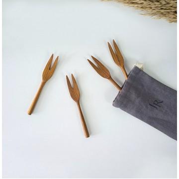 Teak Wood Handmade Dessert Forks (4 pieces)