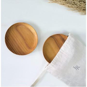 Teak Wood Handmade Round Plates