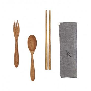 Teak Wood Handmade Cutlery + Chopsticks Bundle Set