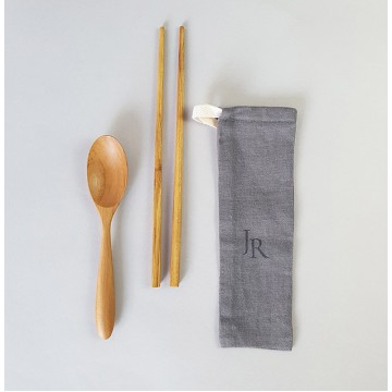 Teak Wood Handmade Spoon + Chopsticks Bundle Set