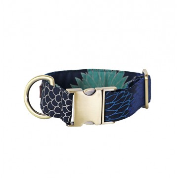 Navy Blue & Turquoise Chrysanthemum Clip-On Collar