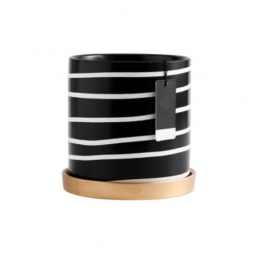 Swirly Black Plant Pot with Gold Base