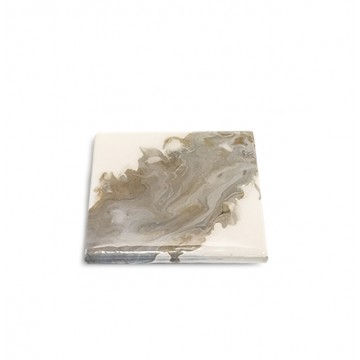Fluid-Painted Coaster (Grey Marble)