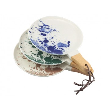 Ink Splatter Round Serving Dish with Wooden Handle