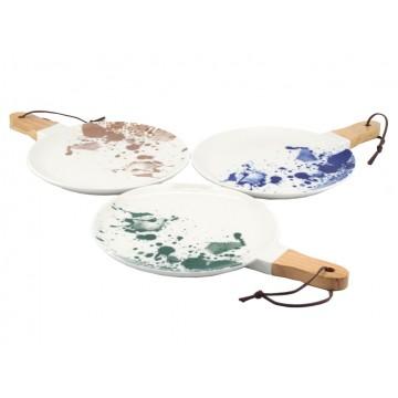 Ink Splatter Round Serving Dish with Wooden Handle