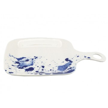 Ink Splatter Square Serving Dish with Handle