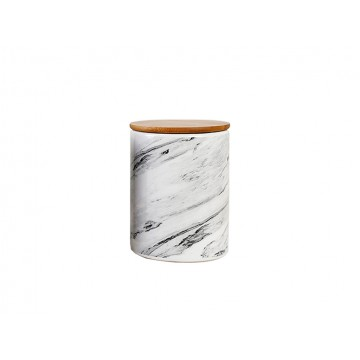 Marbled Cannister With Wooden Lid