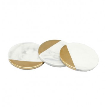 Gold Dipped Marbled Coaster (Round)