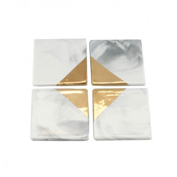 Gold Dipped Marbled Coaster (Square)