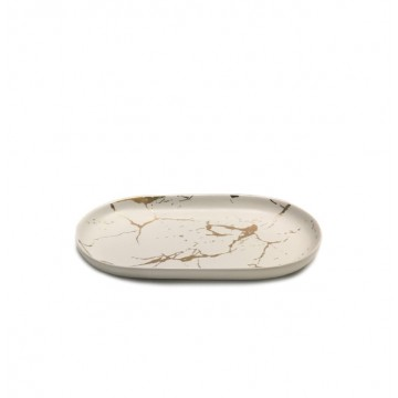 Oval Marbled Serving Plate (White / Gold)