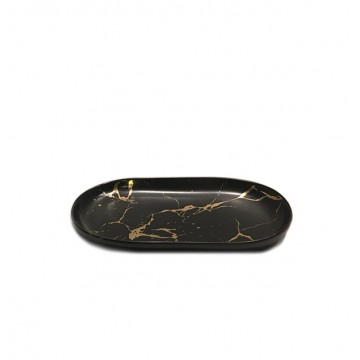 Oval Marbled Serving Plate (Black / Gold)