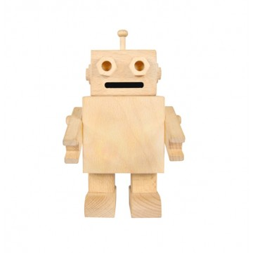 Mr. Manny Wooden Robot Coin Bank