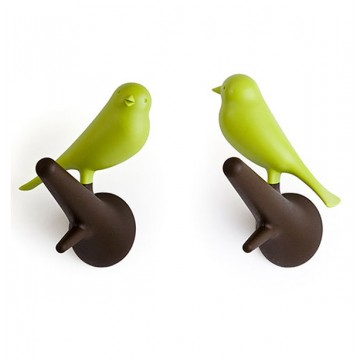 Sparrow Wall Hooks (Green and Brown)