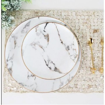 Round Marbled Plate with Gold Trimmings