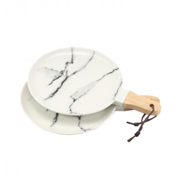Round Marbled Serving Dish (with Handle)